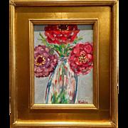 """Wild Flowers in Vase"", Original Oil Painting by artist Sarah Kadlic, 9x12"" Gilt Leaf Frame"