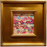 """Abstract Impasto of Color"", Original Oil Painting by artist Sarah Kadlic, 10.5x10.5"" Framed Gilt Wood Frame"