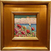 """""""French Wild Flowers Seascape Abstract"""", Original Oil Painting by artist Sarah Kadlic, 12""""x12"""""""