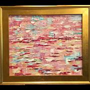 """Abstract Summer Horizon"", Original Oil Painting by artist Sarah Kadlic, 24x20"" and Gilt Wood Frame"