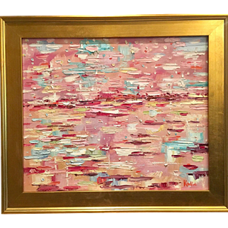 """Abstract Summer Horizon"", Original Oil Painting by artist Sarah Kadlic, 24x20"" and Gilt Wood Frame"