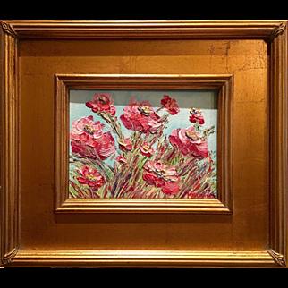 """French Wild Poppies"", Original Oil Painting by artist Sarah Kadlic, 13""x15"""