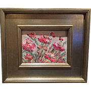 """""""French Wild Flowers Abstract"""", Original Oil Painting by artist Sarah Kadlic, 13x15 Gilt Frame"""
