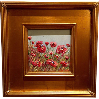 """""""French Wild Red Poppies Abstract"""", Original Oil Painting by artist Sarah Kadlic, 12x12"""""""