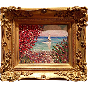 """Red Tree Seascape with Sailboat"", Original Oil Painting by artist Sarah Kadlic, 8x10"" with Gilt French Frame"