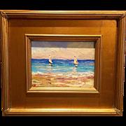 """Sailboats Seascape Abstract"", Original Oil Painting by artist Sarah Kadlic, 13x15"" Gilt Wood Frame"