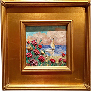 """""""French Wild Flowers Seascape Abstract"""", Original Oil Tile Painting by artist Sarah Kadlic, 12x12"""""""