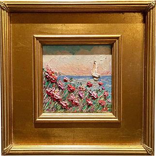 """French Pink Wild Flowers Seascape Abstract"", Original Oil Painting by artist Sarah Kadlic, Gilt Wood Frame"