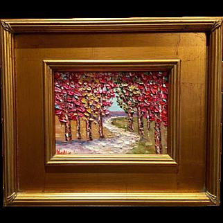 """Abstract Small Autumn Trees Landscape"", Original Oil Painting by Artist Sarah Kadlic, 13x15"""