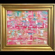 """""""Abstract Summer Garden Pastel Impasto"""", Original Oil Painting by artist Sarah Kadlic, 24x20"""" Gilt Framed"""