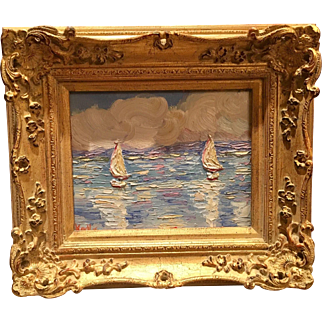 """""""Abstract Sailboat Reflections Seascape"""", Original Oil Painting by artist Sarah Kadlic, 13x15"""" Carved European Gilt Frame"""