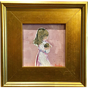 """Young Girl Child with Baby"", Original Oil Painting by artist Sarah Kadlic, 66"" with 10.5"" Gilt Leaf Wood Frame"