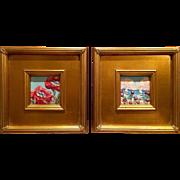 """Pair of Wild Poppy Scenes"", Two Mini Original Oil Painting by artist Sarah Kadlic"