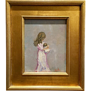 """""""Mother and Child"""", Original Oil Painting by artist Sarah Kadlic, 13x15"""" with Gilt Leaf Wood Frame"""