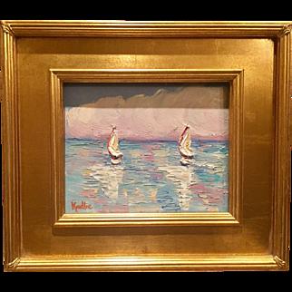 """Abstract Sailboat Reflections Seascape"", Original Oil Painting by artist Sarah Kadlic, 13x15"" Plein Air Gilt Frame"