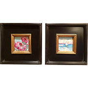 """Pair of Wild Flower & Seascape Oils"", Original Oil Painting by artist Sarah Kadlic"