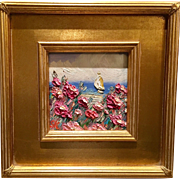 """""""French Wild Flowers Seascape Abstract"""", Original Oil Painting by artist Sarah Kadlic, 12x12"""" with Gilt Frame"""