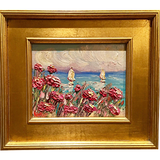 """""""Pink Wild Flowers Seascape Abstract"""", Original Oil Painting by artist Sarah Kadlic, 14x16"""" with Gilt Leaf Frame"""