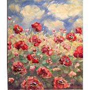 Abstract Vertical Red Poppies Original Oil Painting 24x20