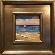 """Sailboat Seascape Beach Scene"", Original Oil Painting by artist Sarah Kadlic, 12x12"" Frame"