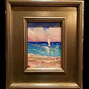 """Sailboat Seascape Beach Scene"", Vertical Original Oil Painting by artist Sarah Kadlic, 13x15"" Silver Leaf Frame"