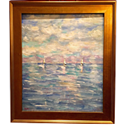 """Abstract Textured Seascape"", Original Oil Painting by artist Sarah Kadlic, 24x20"" Gilt Frame"