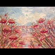 """Abstract Impasto Pink Poppies Summer Seascape"", Original Oil Painting by artist Sarah Kadlic, 40x30"""