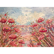 """Abstract Impasto Pink Poppies Summer Seascape"", Original Oil Painting by artist Sarah Kadlic, 40x30"""