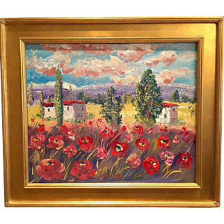 """Abstract Wild Poppies"", Original Oil Painting by artist Sarah Kadlic, 24x20"", Gilt Frame"