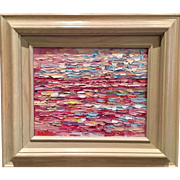"""""""Abstract Impasto of Color"""", Original Oil Painting by artist Sarah Kadlic, 8x10"""" White Wood Frame"""