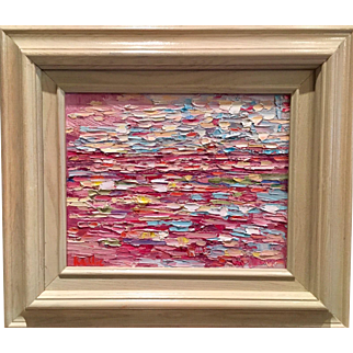 """Abstract Impasto of Color"", Original Oil Painting by artist Sarah Kadlic, 8x10"" White Wood Frame"