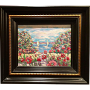"""Abstract Wild Poppies"", Original Oil Painting by artist Sarah Kadlic, 8x10"" Wood Gilt Tuscan Frame"