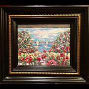 """Abstract Wild Poppies"", Original Oil Painting by artist Sarah Kadlic, 8x10"" Wood Gilt Tuscan Frame"
