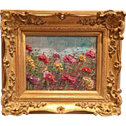"""Abstract Fields of Wild Flowers"", Original Oil Painting by artist Sarah Kadlic, 8x10"" French European Gilt Frame"