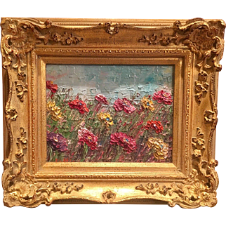 """""""Abstract Fields of Wild Flowers"""", Original Oil Painting by artist Sarah Kadlic, 8x10"""" French European Gilt Frame"""