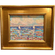 """Sailboats Seascape with Vivid Reflections"", Original Oil Painting by artist Sarah Kadlic, 8x10"" Gilt Leaf Frame"