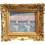 """Abstract Sailboats Seascape"", Original Oil Painting by artist Sarah Kadlic, 13""x15"" Giltwood Carved Frame"