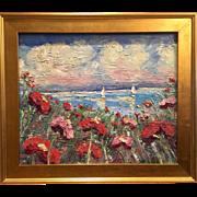 """Abstract Seascape Sunset"", Original Oil Painting by artist Sarah Kadlic, 24x20 + Gilt Leaf Frame"