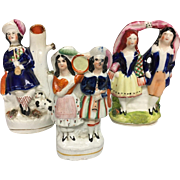 Lovely Set of Three Antique Staffordshire Couple Figurines from the 1900s or earlier, with losses, 5-6""