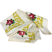Set of 12 Fabulous Thick Vintage Bark Cloth Yellow Border & Pink Peonies Cotton Large Summer Picnic Napkins - Beautiful!