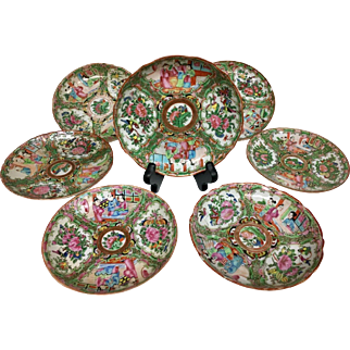 Absolutely Lovely Rose Medallion Chinese Asian Porcelain Plate Collection - 19th Century