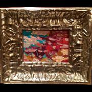 """Abstract Impasto"", Original Oil Painting by artist Sarah Kadlic, Silver Leaf Wood Frame 10x12"""