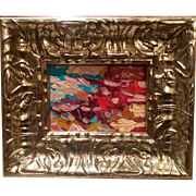 """Abstract Impasto"", Original Oil Painting by artist Sarah Kadlic, Silver Leaf Wood Frame 10x12"""