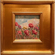 """French Wild Flowers Abstract"", Original Oil Painting by artist Sarah Kadlic, 12x12"" with Gilt Frame"