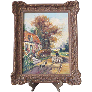 Wonderful Vintage 1900 Dutch Original Oil Painting Gilt Wood Frame for Tabletop
