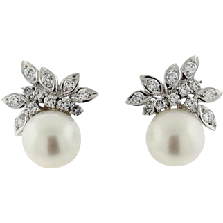 Stunning and Impressive South Seas Pearl 1.50ctw Diamond Earrings set in 14k Gold