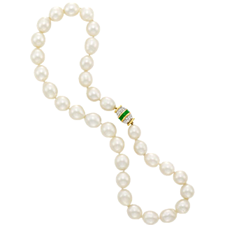 Gorgeous 18k Gold 10-12mm Cultured Pearl Necklace with 2.10 Carat Emerald Diamond Clasp