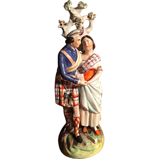 Gorgeous Antique Estate Staffordshire Figurine Couple from England dating from the 19th Century, Unique and Rare!