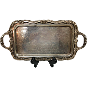 Lovely Small Silver-plate Tray over Copper WM Rogers Stamped on Back
