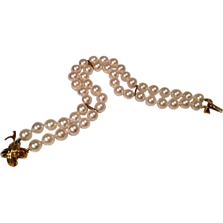 Stunning Rare Estate Signature X Tiffany & Co. 18k Yellow Gold Double Strand Cultured Pearl Bracelet